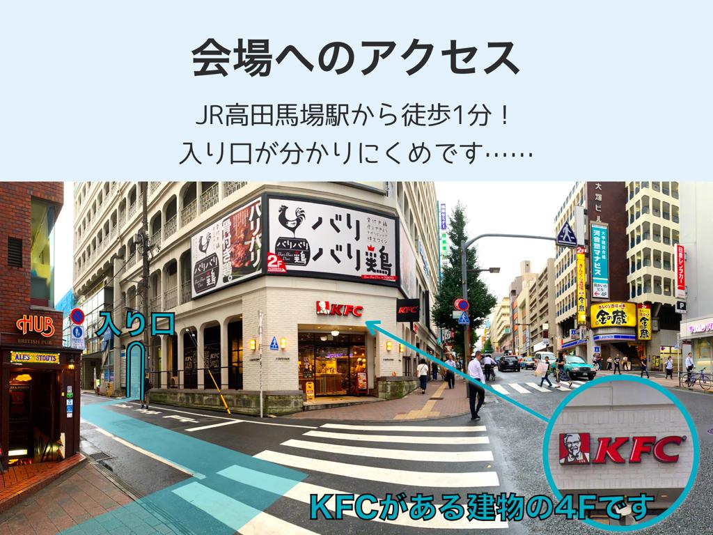 会場へのアクセス。JR高田馬場駅から徒歩1分!入り口が分かりにくめです。KFCがある建物の4Fです。