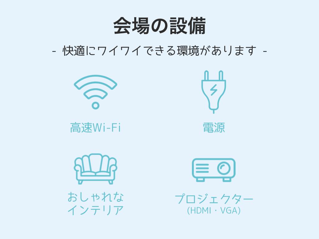 会場設備・快適にワイワイできる環境があります。高速Wi-Fi、電源、プロジェクター(HDMI,VGA)、おしゃれなインテリア